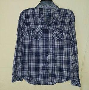 Sonoma Navy Blue Plaid Shirt